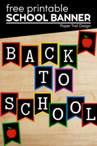 Colorful chalkboard like back to school sign banner letters with apples with text overlay- free printable school banner