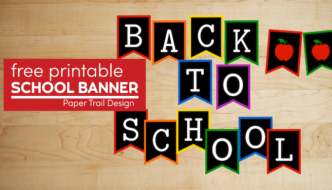 Colorful chalkboard welcome back to school banner with apples with text overlay- free printable school banner