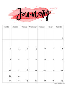 January 2022 calendar free printable with red watercolor design