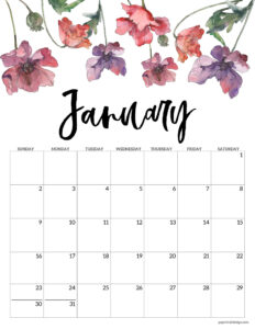 January 2022 Calendar printable with pink and purple flowers