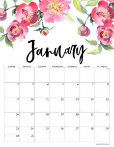 January 2022 floral calendar printable