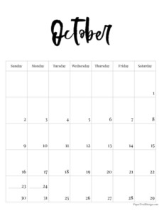 October 2022 black and white basic vertical calendar with cursive month to print for free.