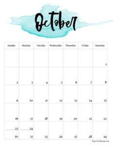 October 2022 calendar free printable with blue watercolor design