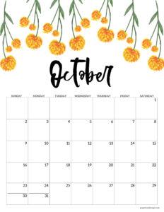 October 2022 floral calendar printable