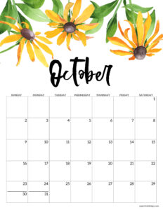 October 2022 calendar free printable with yellow flowers