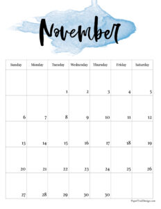 November 2022 calendar printable with blue watercolor design