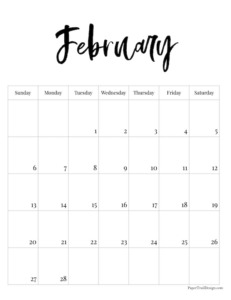February 2022 black and white basic vertical calendar with cursive month to print for free.
