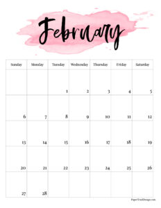 February 2022 calendar printable with pink watercolor design