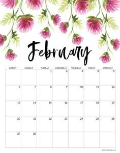 February 2022 floral calendar printable
