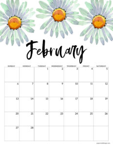 February 2022 calendar free printable with daisy flowers