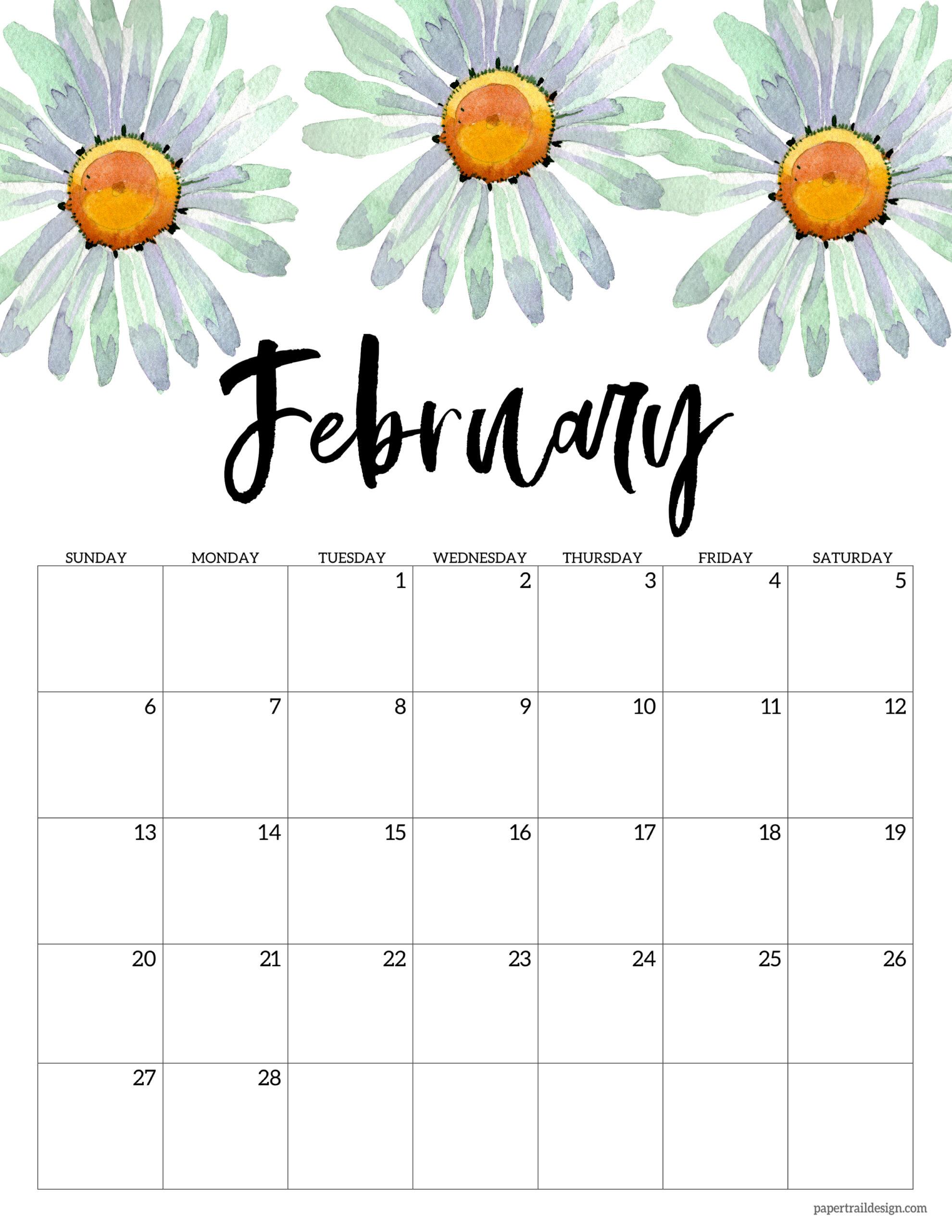 2022 Free Printable Calendar Floral Paper Trail Design