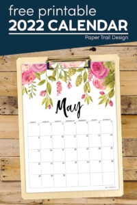 May 2022 calendar with flower design with text overlay- free pritnable 2022 calendar