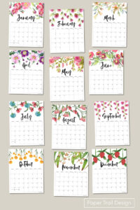 2022 yearly calendar printable pages with floral design