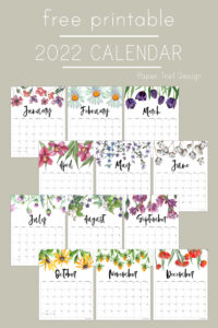 12 months of calenar pages with floral design with text overlay- free printable 2022 calendar