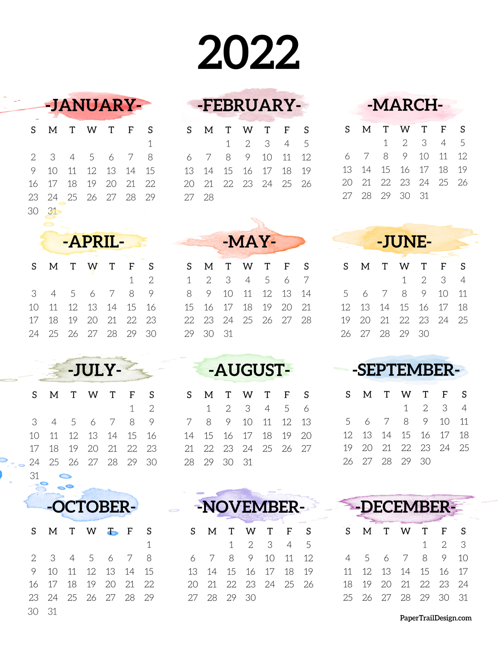 Calendar 2022 Year.2022 One Page Calendar Printable Watercolor Paper Trail Design