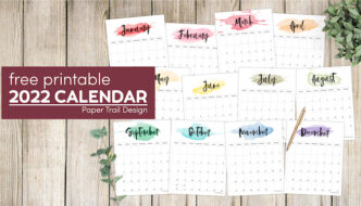 watercolor 2022 monthly calendar printable with text overlay- free printable 2022 calendar
