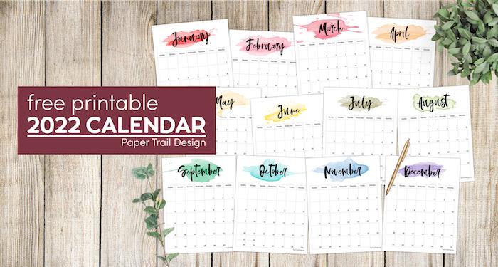 2022 Printable Calendar Watercolor Paper Trail Design
