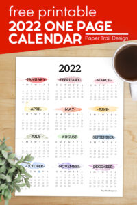 Year at a glance calendar with rainbow watercolor with text overlay- free printable 2022 one page calendar