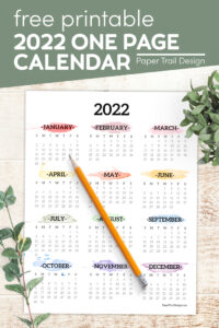 2022 year at a glance calendar with watercolor months with text overlay- free printable 2022 one page calendar