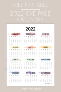 Free printable 2022 year at a glance calendar page with text overlay- free printable 2022 one page calendar