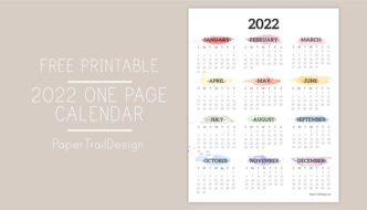 watercolor design 2022 year at a glance calendar page printable with text overlay- free printable 2022 one page calendar