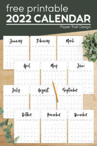 Black and white vertical calendar pages with text overlay- free printable 2022 calendar
