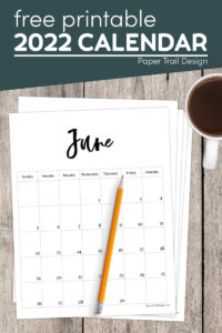 Basic June 2022 calendar page with pencil with text overlay- free printable 2022 calendar