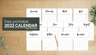 Simple yet elegant 2022 calendar pages with text overlay- free printable 2022 calendar