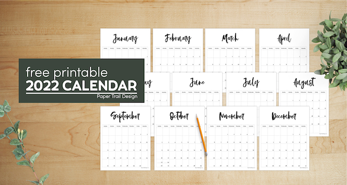2022 Free Printable Monthly Calendar Paper Trail Design