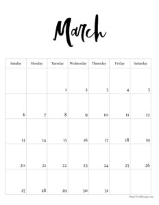 March 2022 black and white basic vertical calendar with cursive month to print for free.