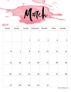March 2022 calendar page free printable with pink watercolor design