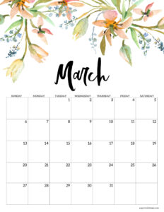March 2022 floral calendar printable