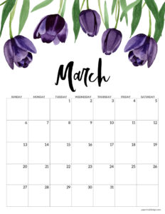 March 2022 calendar printable with purple tulips