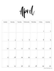 April 2022 black and white basic vertical calendar with cursive month to print for free.