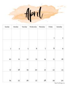April 2022 calendar page free printable with orange watercolor design