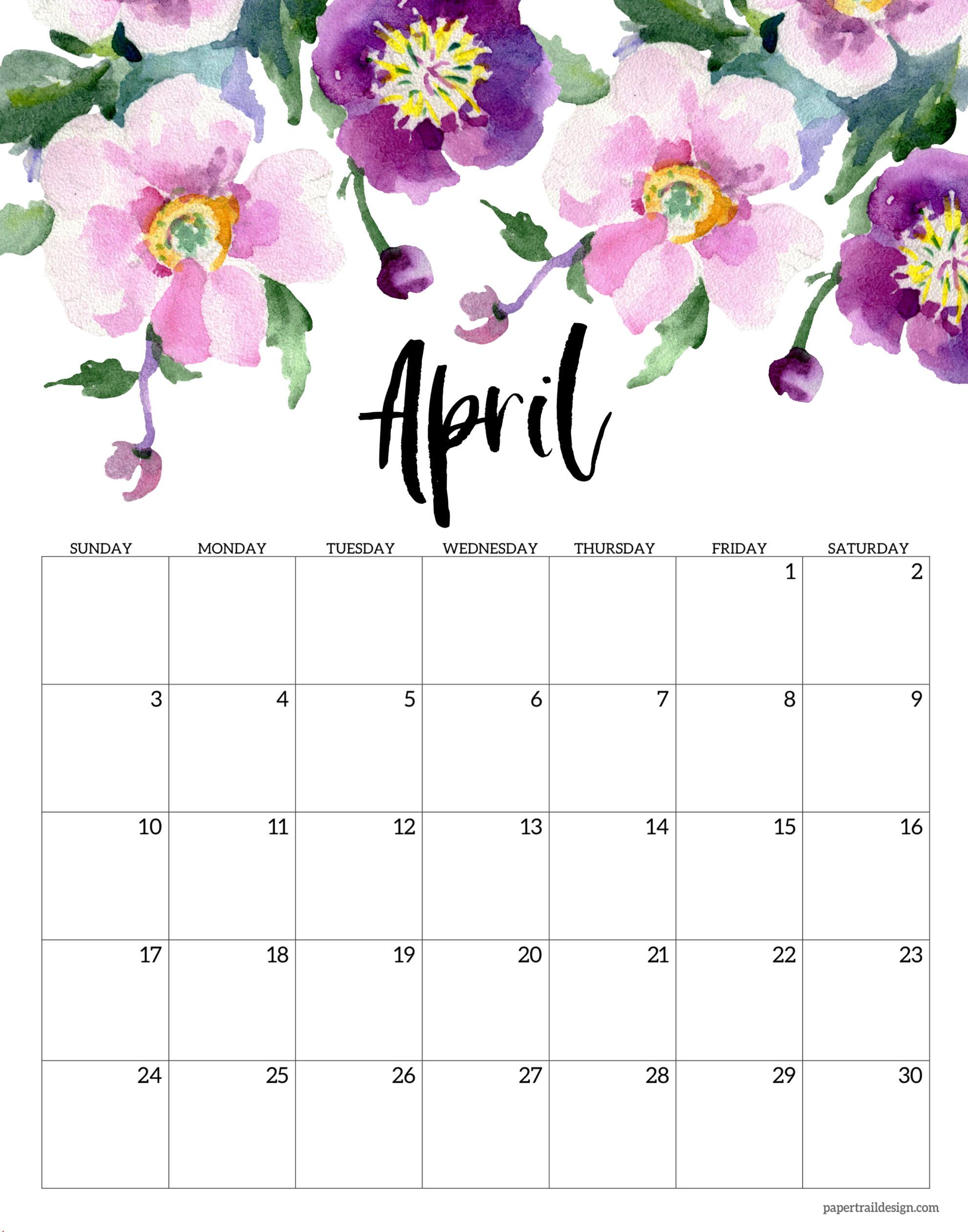 Cute April 2022 Calendar.Free Printable 2022 Floral Calendar Paper Trail Design