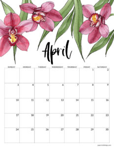 April 2022 calendar printable with pink flowers