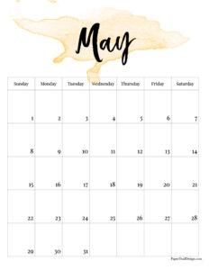 May 2022 calendar free printable with yellow-orange watercolor design