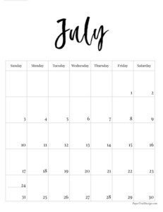 July 2022 black and white basic vertical calendar with cursive month to print for free.