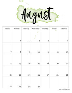 August 2022 calendar printble with green watercolor design