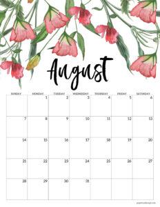 August 2022 floral calendar printable