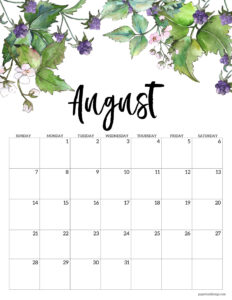 August 2022 calendar page free printable with blackberries and flowers