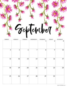 September 2022 floral calendar printable