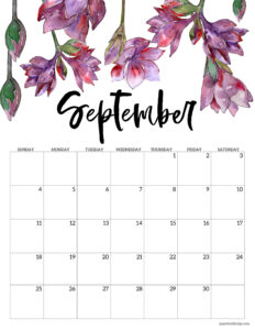 September 2022 floral calendar printable with purple flowers