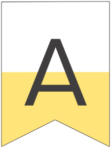 Happy birthday banner yellow letter A