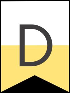 Happy birthday banner yellow letter D