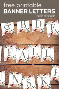 Floral fall banner letters with text overlay- free printable banner letters