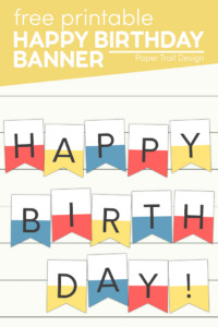 Cute colorful happy birthday banner with text overlay- free printable happy birthday banner