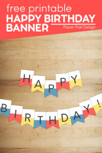 Red, yellow, and blue happy birthday banner sign with text overlay- free printable happy birthday banner