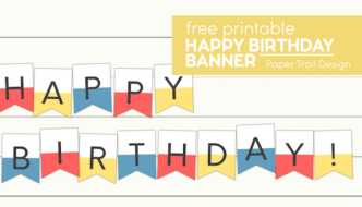 Pink, yellowm and blue Happy birthday sign with text overlay- free printable happy birthday banner